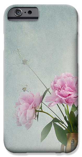 Interior Still Life iPhone Cases - Peonies still life iPhone Case by Artskratches