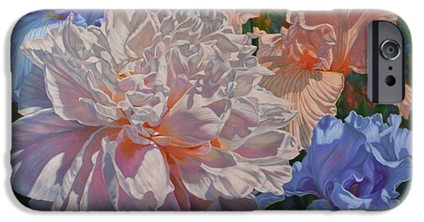 Chicago Paintings iPhone Cases - Peony and Irises iPhone Case by Fiona Craig
