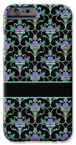 Fashion Designer Art iPhone Cases - Peony Damask on Black iPhone Case by Jenny Armitage