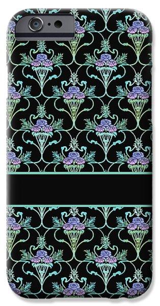 Art Nouveau Flower iPhone Cases - Peony Damask on Black iPhone Case by Jenny Armitage