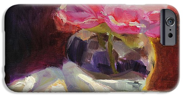 Child iPhone Cases - Peony Glow - Square Still Life iPhone Case by Karen Whitworth