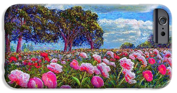 In Bloom Paintings iPhone Cases - Peony Heaven iPhone Case by Jane Small