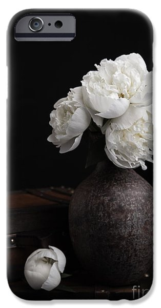Luggage iPhone Cases - Peony Still Life iPhone Case by Edward Fielding