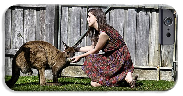 People Pyrography iPhone Cases - People and Kangaroo iPhone Case by Girish J