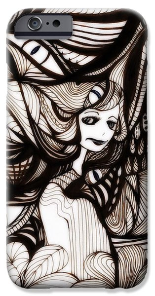 Eerie Drawings iPhone Cases - People Are Strange iPhone Case by Anja Partin