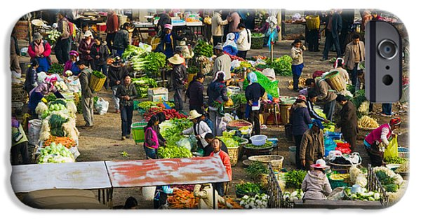 Chinese Market iPhone Cases - People At A Traditional Town Market iPhone Case by Panoramic Images