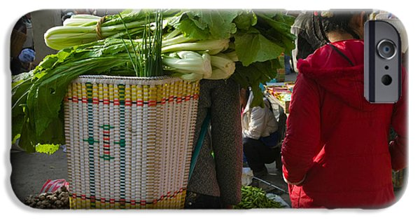 Chinese Market iPhone Cases - People At A Vegetable Market, Xizhou iPhone Case by Panoramic Images