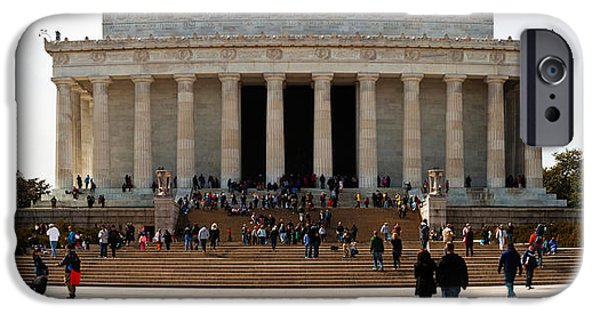 Lincoln iPhone Cases - People At Lincoln Memorial, The Mall iPhone Case by Panoramic Images