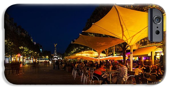 Patio Table And Chairs iPhone Cases - People At Sidewalk Cafes In A City iPhone Case by Panoramic Images