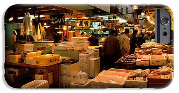 Built Structure iPhone Cases - People Buying Fish In A Fish Market iPhone Case by Panoramic Images