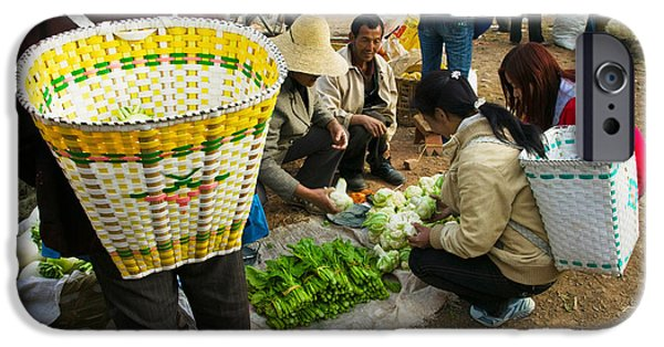 Chinese Market iPhone Cases - People Buying Vegetables iPhone Case by Panoramic Images