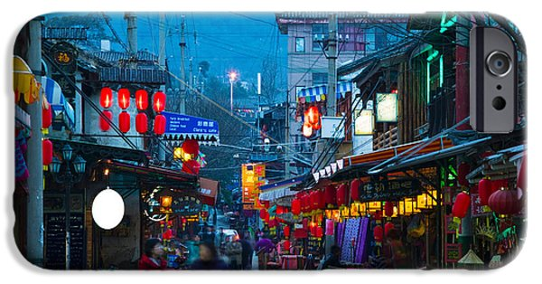 Chinese Market iPhone Cases - People In A Market At The Backpacker iPhone Case by Panoramic Images