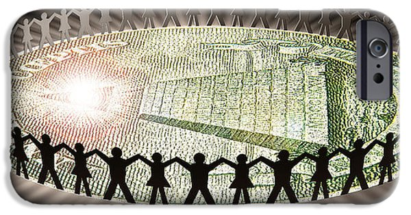Cooperation iPhone Cases - People In Circle Around Money iPhone Case by Panoramic Images