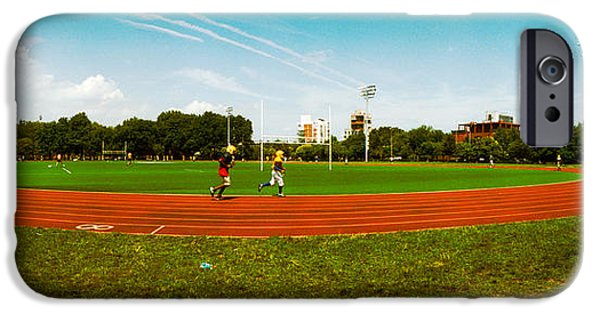 Jogging iPhone Cases - People Jogging In A Public Park iPhone Case by Panoramic Images