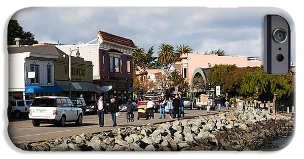 Sausalito iPhone Cases - People On The Bridgeway Street iPhone Case by Panoramic Images