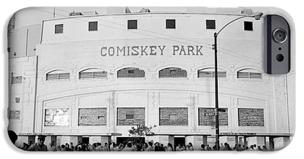 Baseball Stadiums iPhone Cases - People Outside A Baseball Park, Old iPhone Case by Panoramic Images