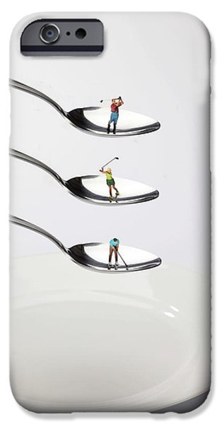 Creative People iPhone Cases - People playing golf on spoons little people on food iPhone Case by Paul Ge