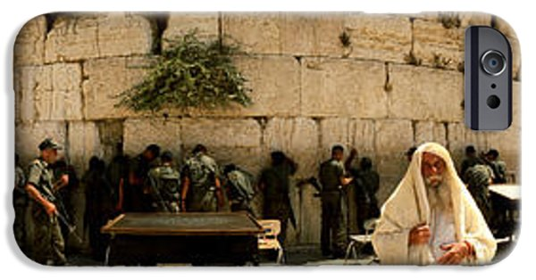 Israeli iPhone Cases - People Praying In Front Of The Wailing iPhone Case by Panoramic Images