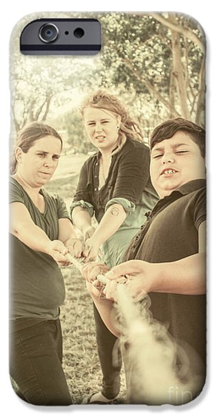 First Family iPhone Cases - People pulling on rope. Team building games iPhone Case by Ryan Jorgensen