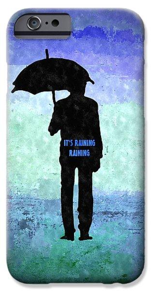 Rainy Day Mixed Media iPhone Cases - People Series It Is Raining Raining iPhone Case by Daniel Janda