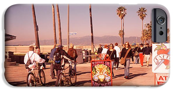 Board iPhone Cases - People Walking On The Sidewalk, Venice iPhone Case by Panoramic Images