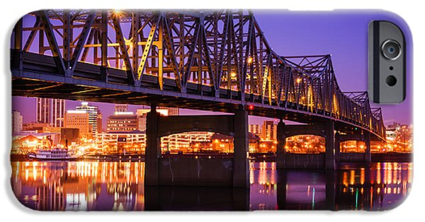 Morning iPhone Cases - Peoria Illinois Murray Baker Bridge at Night iPhone Case by Paul Velgos