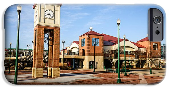 Business iPhone Cases - Peoria Illinois Riverfront Businesses and Clock Tower iPhone Case by Paul Velgos