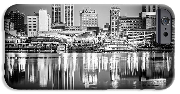 Business iPhone Cases - Peoria Illinois Skyline at Night in Black and White iPhone Case by Paul Velgos