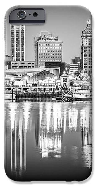 Peoria Illinois Skyline at Night in Black and White iPhone Case by Paul Velgos