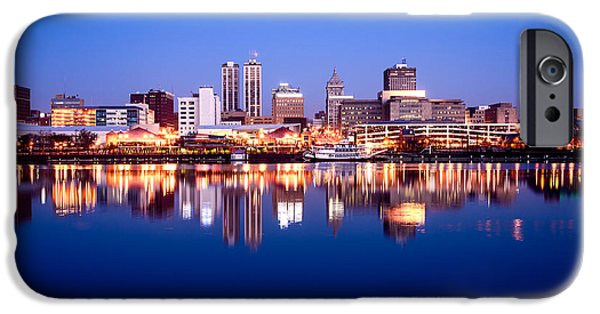 Morning iPhone Cases - Peoria Illinois Skyline at Night iPhone Case by Paul Velgos