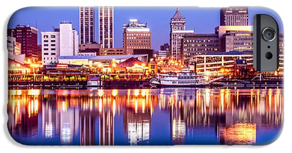 Morning iPhone Cases - Peoria Skyline at Night Panorama Photo iPhone Case by Paul Velgos