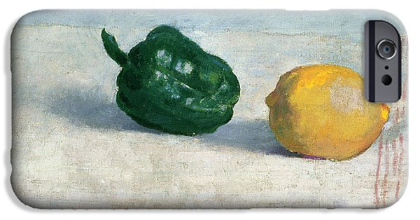 Still Life iPhone Cases - Pepper and Lemon on a White Tablecloth iPhone Case by Odilon Redon