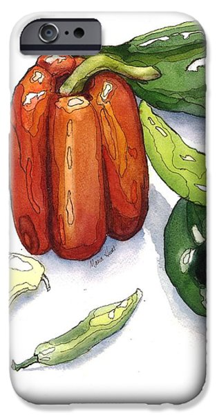 Hot Peppers iPhone Cases - Pepper Fiesta II iPhone Case by Maria Hunt