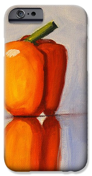 Reflection Harvest iPhone Cases - Pepper Reflection Still Life iPhone Case by Nancy Merkle