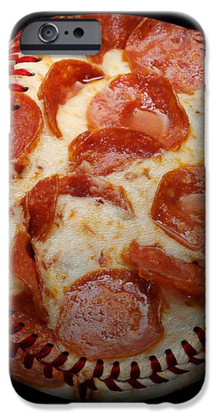 Pepperoni Pizza Baseball Square iPhone Case by Andee Design