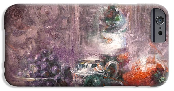 """indoor"" Still Life Paintings iPhone Cases - Peppers and Senorita Reading iPhone Case by Larry Kaiser"
