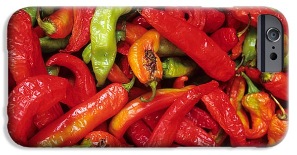 Hot Peppers iPhone Cases - Peppers At Street Market iPhone Case by William H. Mullins