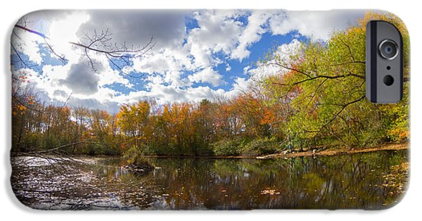 Nature Center Pond iPhone Cases - Pequotsepos Duck Pond Reflection   iPhone Case by Kirkodd Photography Of New England