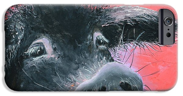 Piglets Paintings iPhone Cases - Percival the Black Pig iPhone Case by Jan Matson