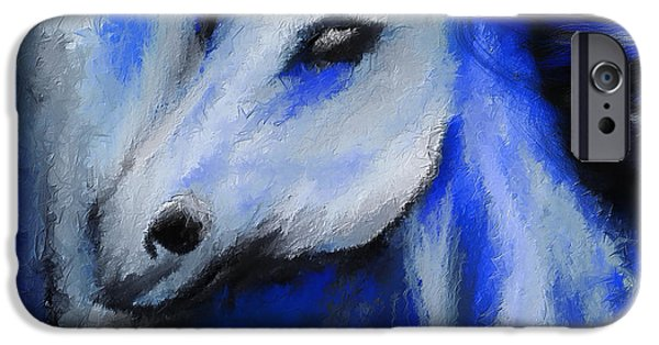 Kentucky Derby Paintings iPhone Cases - Perfect Blue- Gray And Blue Painting iPhone Case by Lourry Legarde