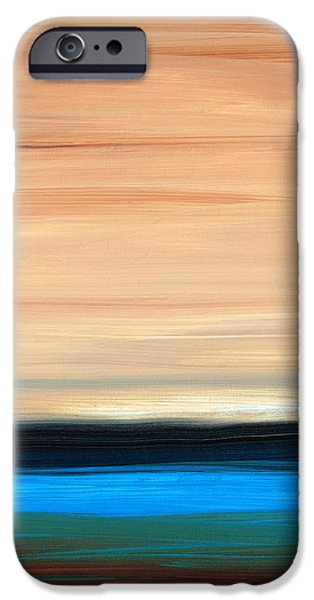 Perfect Calm - Abstract Earth Tone Landscape Blue iPhone Case by Sharon Cummings