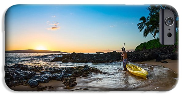 Kayak iPhone Cases - Perfect Ending - beautiful and secluded Secret Beach in Maui iPhone Case by Jamie Pham