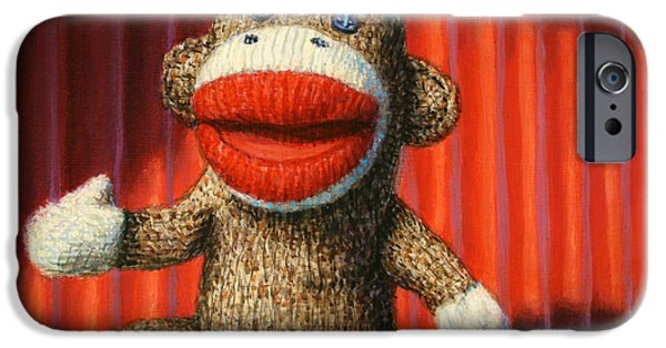 Comedian iPhone Cases - Performing Sock Monkey iPhone Case by James W Johnson