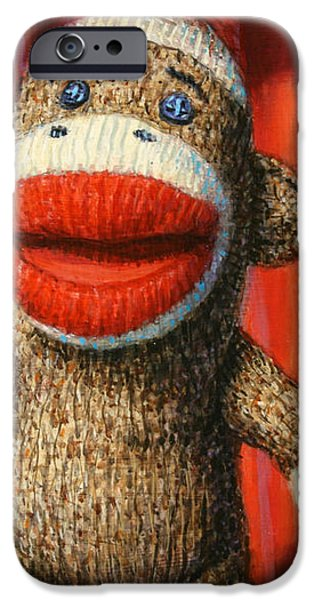 Performing Sock Monkey iPhone Case by James W Johnson