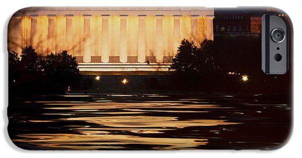D.c. iPhone Cases - Perigee Moon over the Lincoln Memorial iPhone Case by Mountain Dreams