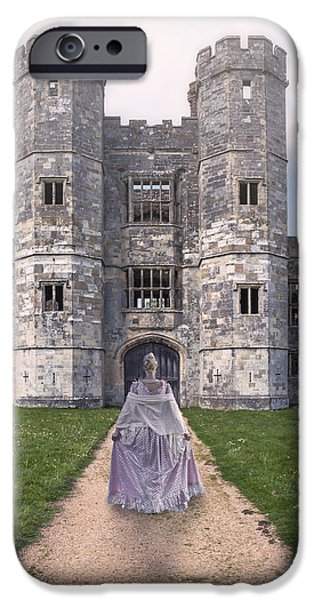 Noble iPhone Cases - Period Lady In Front Of A Castle iPhone Case by Joana Kruse