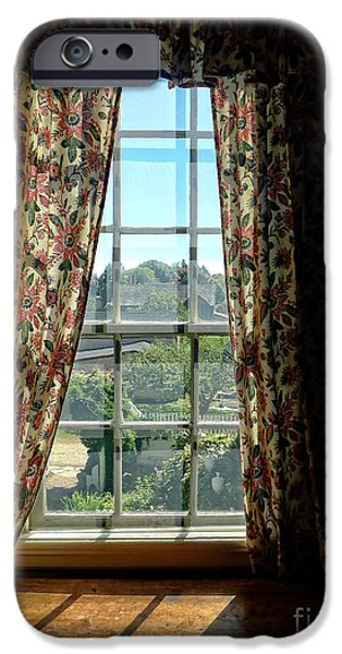 Window iPhone Cases - Period window with floral curtains iPhone Case by Edward Fielding