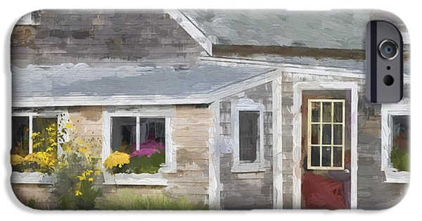 New England Village iPhone Cases - Perkins Cove Maine Painterly Effect iPhone Case by Carol Leigh