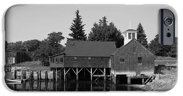 Old Maine Houses iPhone Cases - Perkins Tide Mill - Kennebunk Maine 1965 iPhone Case by Mountain Dreams