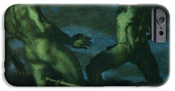 Medusa iPhone Cases - Perseus turns Phineus to Stone by Brandishing the Head of Medusa iPhone Case by Franz von Stuck